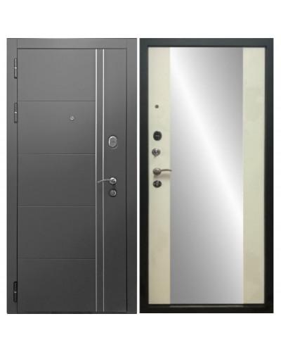 Входная дверь Дверной Континент ТЕПЛОЛЮКС зеркало (Серая графит/ Беленый Дуб)